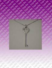 STERLING SILVER & DIAMOND HEART KEY PENDANT NECKLACE New In Gift Box
