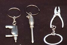 3x Tool Shaped Keychain, Keyring, Pliers, Screwdriver, Drill, Zinc Alloy