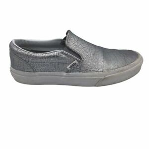 Vans Unisex Skate Shoes Silver Metallic 721278 Leather Slip On Low Top M 6.5 W 8