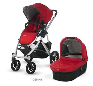 Used Uppababy Vista pram, red. Bassinet included.