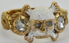 WOW! Antique Georgian Memento Mori Skull&Bones 18k Gold,Enamel&Diamonds ring