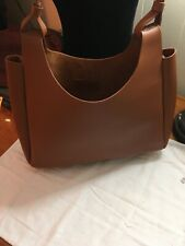 Womens Neiman Marcus Brown Fx Leather Large Tote Shoulder Bag Purse