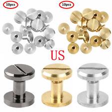 US 10Pcs Flat Head Solid Chicago Screws Metal Posts Nail Rivet Tack Buttons HQ