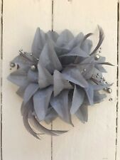 Grey Silver Feather Fascinator Hair Clip Pin Ladies Day Race Party Wedding