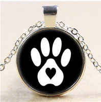 Dog Paws Photo Cabochon Glass Tibet Silver Pendant Necklace#CH42