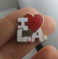 Vintage I LOVE L.A. Los Angeles HEART pinback button pin lapel tie  *GG