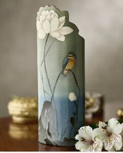 John Beswick SDA041 Koson Kingfisher with Lotus Flower Bird Vase