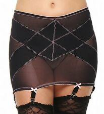 Rago Medium Shaping Open Bottom 6 Strap Black Garter Girdle Size 34/2XL