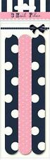 Girls Spots Stripes & Bow 3 x Nail Emery Boards Files Pink & Navy Polka-dot