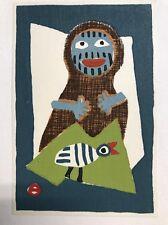 Japanese Woodblock Print Azechi Umetaro A Man And A Bird 6.25 X 4