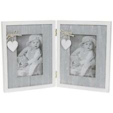 Shabby Chic Vintage Style Grey Heart Double Photo Picture Frame 42213