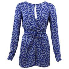 vanessa bruno Romper playsuit jumpsuit sleeve blue floral silk key hole wrap S M
