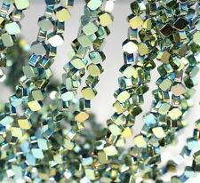 "6X6MM GREEN HEMATITE GEMSTONE DIAMOND SQUARE 6X6MM LOOSE BEADS 16"""