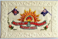 WW1 SILK EMBROIDERED POSTCARD - AUSTRALIAN COMMONWEALTH MILITARY FORCES