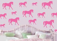 CAVALLI-ROSA-confezione da 16-Wall art Adesivi Decalcomanie Murales Cavallo Pony