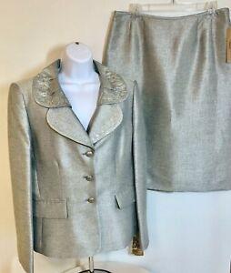 Womens KASPER 2 Piece Skirt Suit Green Shimmer Iridescent w/Sequins Size 10 NWT