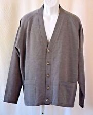 "LeRoy Knit For Men LR II Five Button Up Vintage Gray Cardigan Sweater 50"" Chest"
