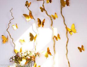 12pcs 3D Chrome Butterflies Sticker Mirror Effect, DIY Wall Art Mural Home Decor