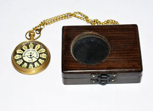 Antique vintage maritime brass pocket watch marine anchor and wooden box gift
