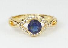 Para Mujer Chapado en Oro Anillo Cúbico Zircon Azul tamaño de Reino Unido N