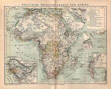Politische Übersicht Afrika Senegambien Kapstadt  historische Landkarte 1882
