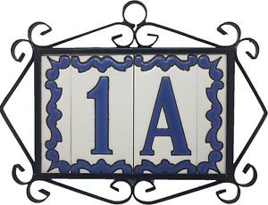 Ceramic Hand-painted Spanish Blue House Number, Letter Tiles & Metal Frames