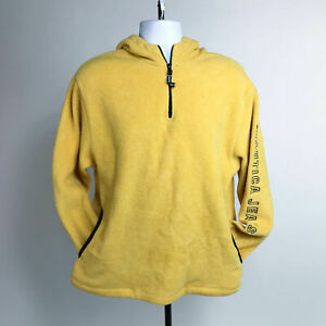 Nautica Jean Company Yellow Fleece Hooded 1/4 Zip Pullover Large