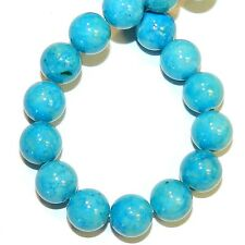 """GR542f Turquoise Blue 8mm Round Gemstone Coral Fossil Riverstone Beads 16"""""""