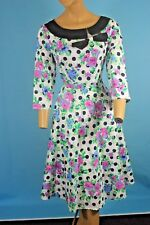 RETRO ROCKABILLY PINUP GIRL FLORAL POLKADOT 3/4 SLEEVE SPRING SWING DRESS L NEW!