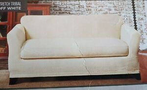 NEW sure fit Stretch Tribal Loveseat Slipcover protector off white ivory cream