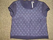EUC LAUREN CONRAD womens sz SMALL S summer navy blue lace & bows shirt top