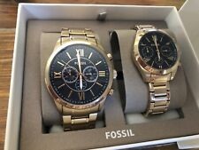 Fossil Couple Set His & Her Silver Stainless Steel Watch Fenmore BQ2469SET
