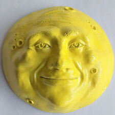 Full Moon Face Sculpture, Weatherproof Enameled Yellow Moon Face, Indoor Outdoor