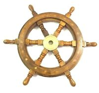 """18"""" Antique Wooden Ship Steering Wheel Pirate Decor Brass Fishing Wall Boat"""