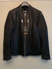 Hugo Boss Men's Jordon Leather Biker Jacket, Black S, New With Tag's RRP £449