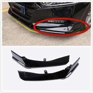 For Honda Accord 2018 2019 Front Bumper Both Side Lip Molding Trims Black Pair