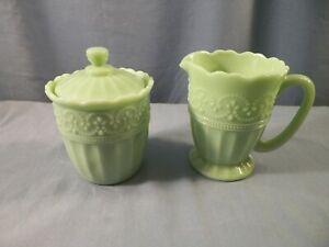 The Pioneer Woman Green Jade Jadeite Glass Creamer & Covered Sugar Bowl Set