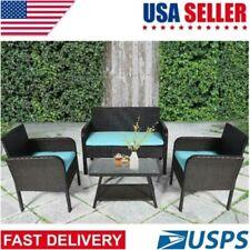 Patio Wicker Furniture Outdoor 4Pc Rattan Sofa Chair Table Set Garden Decor