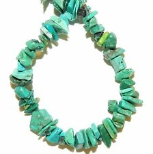 "T1915fd Blue-Green Turquoise w Matrix Small 5mm - 8mm Gemstone Chip Beads 15"""