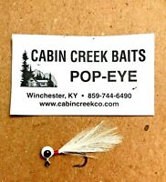 🌟 Cabin Creek 1/32 Pop Eye White Feather Fishing Jig Size 1 🌟