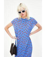 Zara Trafaluc Crinkle Oversized Shift Tunic Dress Coverup Polka Dot Blue Sz S