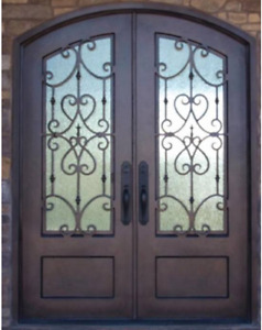 Stunning Eyebrow Arched Wrought Iron Double Door