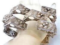 """Massive Cannetille Sterling Silver Bracelet Wide Vintage 8.5"""" Filigree Mexican"""