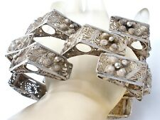 "Massive Cannetille Sterling Silver Bracelet Wide Vintage 8.5"" Filigree Mexican"