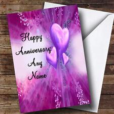 Corazones PÚRPURA Personalizado Aniversario tarjeta de saludos