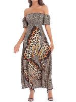 Women Dress Fashion Off Shoulder Cheetah Butterfly Print Beach Ruffle Maxi Dress