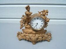 """Spelter French Mantel clock 10"""" tall working running slow"""