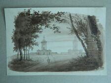 XIXe ancien dessin au LAVIS Les phares de la Hève d'après Garnerey