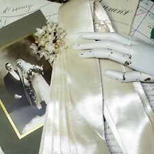 """18y HANK 2"""" ANTQ VTG IVORY WHITE SATIN BELTING TRIM RIBBON WEDDING EDWARDIAN HAT"""