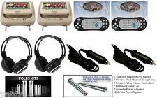 "2019 TAN PAIR HEADREST 9"" LCD CAR MONITOR DVD PLAYER SCREENS USB IR HEADPHONES"